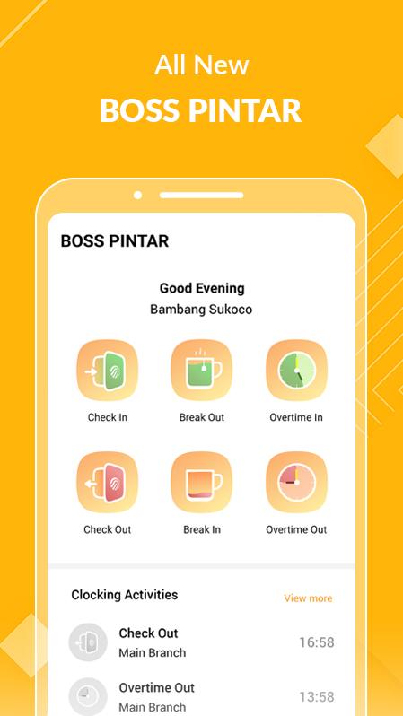 Tampilan Home pada BOSS Pintar for Employee